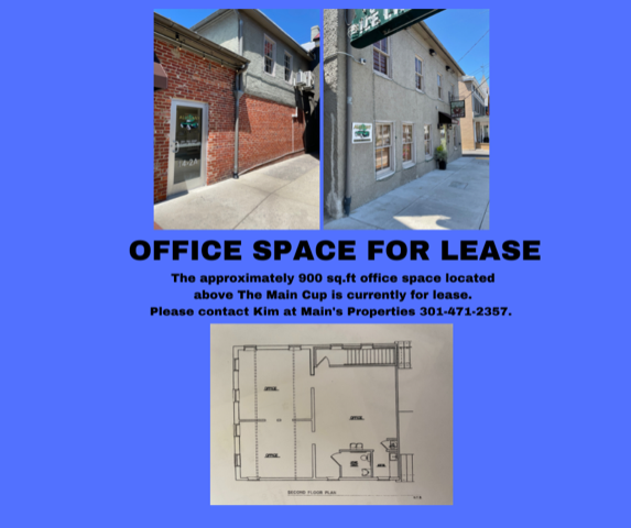Office space for lease next to Main Cup